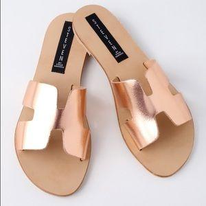steven by steve madden rose gold metallic sandals